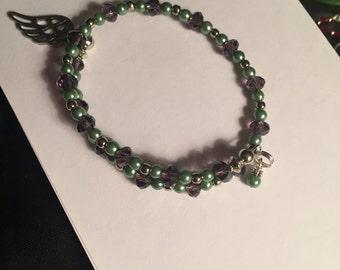 Purple and pastel green bracelet
