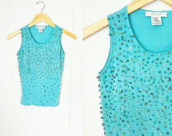 90s Turquoise Top by Etincelle Couture with Beaded Rock Details