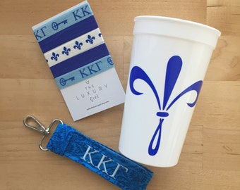 Kappa Kappa Gamma Bid Day Bag; Kappa Gift bag; Sorority Gift bag; KKG Big Little; Kappa Kappa Gamma Cup, Hair Ties, Key Chain