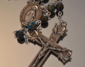 Blue Jasper Rosary, Miraculous Medal, Rosaries, Rosary, Handmade