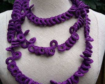 Long crochet necklace purple