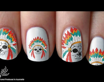 Native Indian skull Nail Art Sticker Water Transfer Decal 101