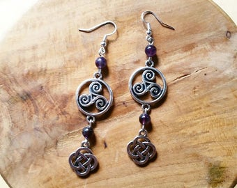 These genuine Amethyst Celtic earrings.