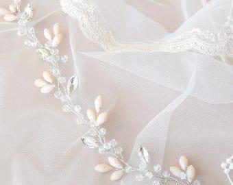 TINY BEIGE | Crystal sparkling hair vine, bridal headpiece, wedding hairpiece, bridal hair vine