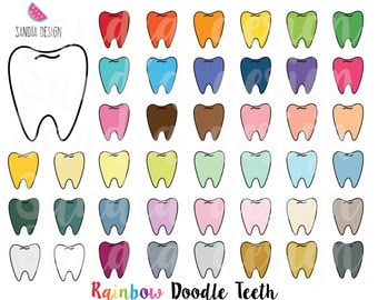 43 Doodle Teeth clipart. Personal and comercial use.