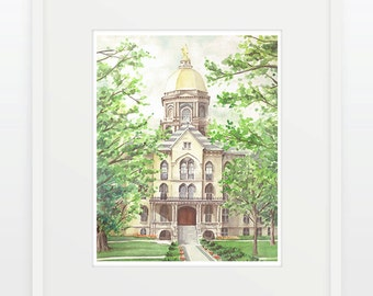Notre Dame/Golden Dome/University of Notre Dame/Watercolor/Graduation Gift/Campus Building/Fighting Irish/South Bend/Indiana/Watercolor/Dome