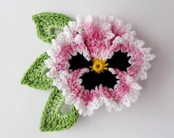 Crochet Flower Pin Irish Crochet Pansy Pin Lapel Pin Scarf Pin Hat Pin Women's Accessory Mother's Day Gift Fiber Art Flower Brooch Pink