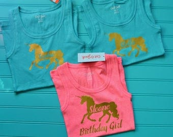 Personalized Unicorn birthday girl shirt - Girls