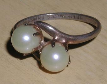 Exquisite Vintage Art Deco Double Pearl Sterling Silver Vine Design Ring- Size 6