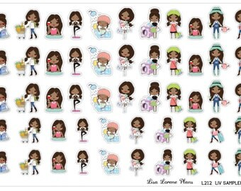LIV Sampler Planner Stickers | AFRICAN AMERICAN | Regular and Mini sized | Perfect for most planners | L212