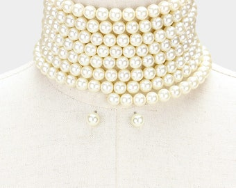 Pearl Choker, Choker Necklace, Pearl Statement Necklace, Wedding Necklace, Multi Strand Pearl Choker