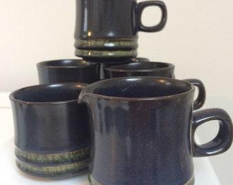 Vintage retro mugs sugar bowl and jug