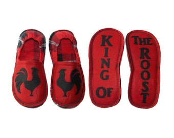 Boy Slippers, Funny Gift, Rooster Chicken, Custom Personalized Gift, Red Black, Children House Shoes, Gift for Him, Year of the Rooster