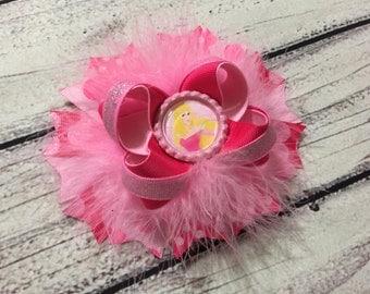 Aurora Hair Bow, Sleeping Beauty Hair Bow ,Princess Hair Bow , Princess Hair Clip ,Sleeping Beauty Boutique Bow
