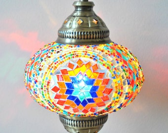 Alacati - Handmade Glass Mosaic Turkish Lantern Table Lamp