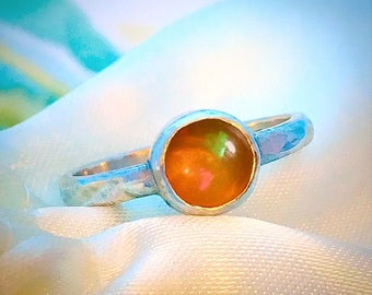 Welo Opal ring, Silver Opal ring, Engagement ring, Birthstone ring, Gemstone ring, Handmade Sterling Silver ring with Welo Fire Opal.