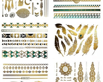 75+ Metallic Temporary Tattoos Gold Silver Black Turquoise, Small & Large Temporary Tattoos Feathers Owl Rings Links Leaves Moon Stars Love