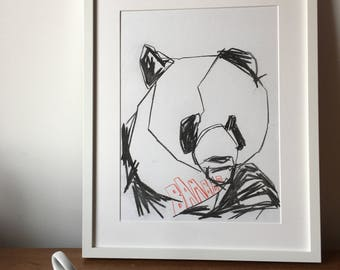 Original abstract drawing of panda eating bamboo by adam slatter