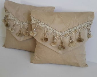 Pair of Elegant Gold Moire Satin Decorative Accent Pillows - Size 14 in x 14 in