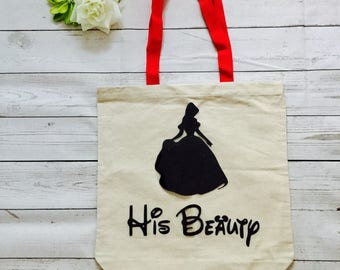 His Beauty Made to order canvas bag,Disney trip bag made to order