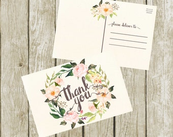 Thank You Postcards. Floral Thank you Cards, Printable Thank You Postcards 4x6, Digital Postcard, Instant Download. Printable Postcards.