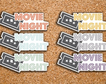 18 Movie Night, Movie Icon Planner Stickers for 2017 Inkwell Press IWP-DC58