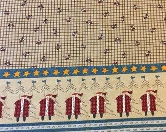 Vintage Christmas Fabric. 1/3 yd. Shabby Chic Christmas Fabric. Christmas Country Fabric. Santa Fabric. Christmas Fabric Rustic.Holly Fabric