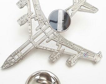 E3D AWACS Aeroplane Plane View Lapel Pin Badge Silver Colour