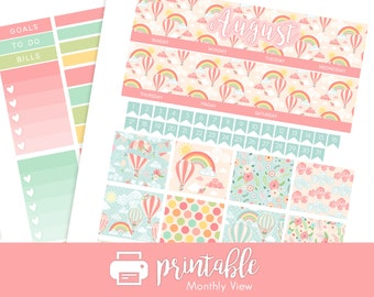 50% Off Printable Planner Stickers August Monthly View Kit! Hot Air Balloons and Floral Theme! w/ Cut Files!  For use with Erin Condren!