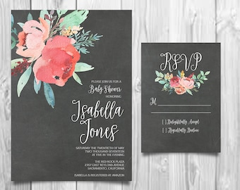 Boho Chic Shower Invitation, Bohemian Invitation, Peony Invitation, Calligraphy Invites, DIY Invitation Suite, Handpainted Invitation