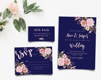 Bohemian Invitation, Rustic Wedding Suite, Peony Invitation, Boho Chic Invite, Invitation Printable, Rustic RSVP Card, DIY Invitation Suite