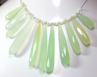 Aqua Chalcedony Faceted Teardrop Beads 1.String 11.Pcs - Size 19x51 To 7x8.mm Approx - Code - CH1