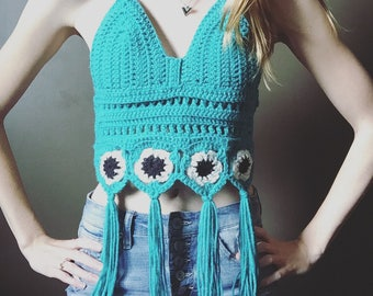 Crochet Turquoise Halter Top with Tassels and Flowers