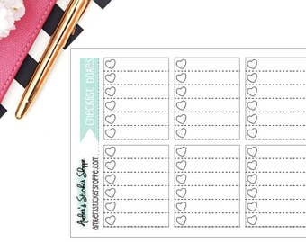 Heart Checklist Boxes for Regular HP Planner Stickers