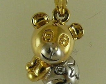 Bear Pendant with Diamonds 0.02ct 18k White and Yellow Gold