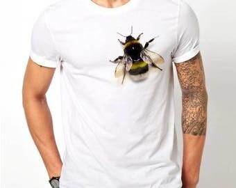 3D Funny Print Fake Bee Honey Animal Tshirt Shirt Unisex Tee White Color