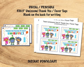 TEAM UMIZOOMI Favor / Thank-You Tags | INSTANT Download | Printable