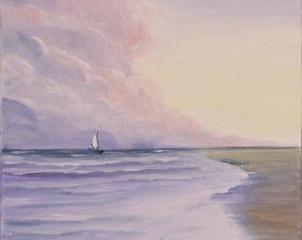 Sailboat Painting, Ship, Gift for Him, Sunset Art, Gift for Dad, Purple Coastal Landscape, Original Small Oil Painting, A Dancer in the Sea