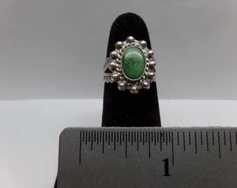 Vintage Sterling Silver Agate Adjustable Ring  / FDM