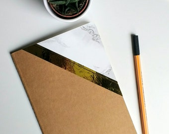 SALE ** A5 notebook/jotter with marble and gold cover.