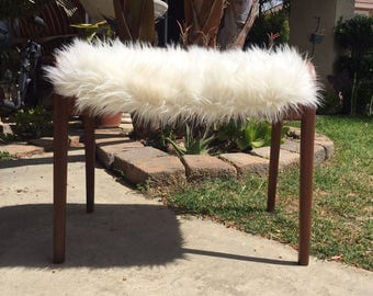 Vintage Mid Century Danish Bench with White Faux Fur