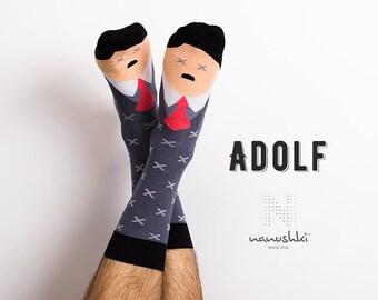 Adolf | funny character | face socks | mismatched | funny socks | crazy socks | happy friends socks | fun | women socks | men socks