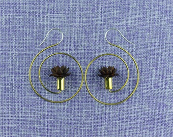 """Tribal Hanging Earrings, """"Patterned"""" Naturally Organic, Sono wood, Brass Tops, Sterling Silver Posts, Hand Carved"""