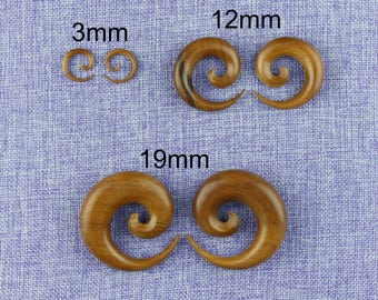 """Ear Weights,Earrings For Stretched Lobes,""""Spiral"""" 8 Gauge (3mm), 9/16"""" (12mm), 3/4"""" (19mm) Saba Wood,Hand Carved"""