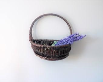 Vintage Dark Wicker Wall Pocket Basket Wall Pocket Planter Wall Basket