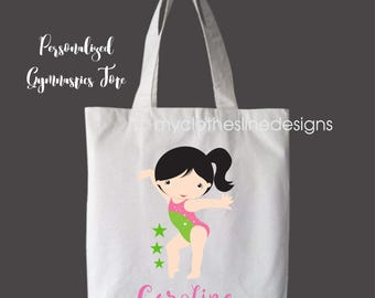 Black Hair Personalized Girls Tote Bag Overnight Bag Gymnastics Bag