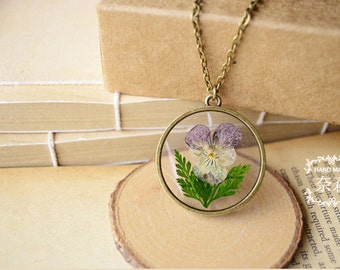 "Handmade Retro Bronze Pendant Necklace with 27"" Long Bronze Chain,Real Pansy Dried Flower Pendant,Botanical Jewelr"
