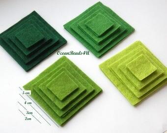 32 Felt Squares (2 cm, 3cm, 4cm, 5 cm)
