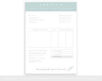 Invoice Template, Photography Invoice, Business Invoice, Photography Forms, Invoice Template for Photographers, Photoshop PSD Template