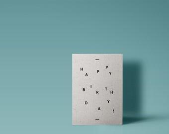 Happy Birthday - Modern Typographic Grey Card Minimal Design Stylish Birthday A6
